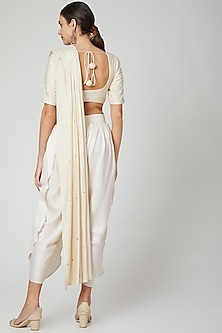 Off White Draped Pant Saree Set by Bohame