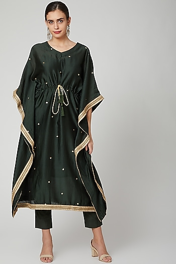 Bottle Green Embellished Kaftan Set by Bohame