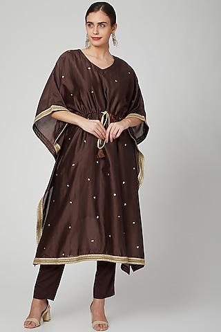 Brown Embellished Kaftan Set by Bohame