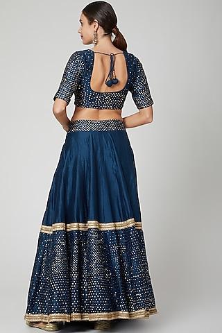 Teal Blue Embellished Lehenga Set by Bohame