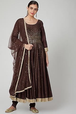 Brown Embellished Anarkali Set by Bohame