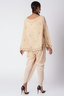 Beige Hand Embroidered Kaftan Top With Pants by Bohame
