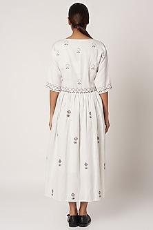 White Cotton Block Printed Dress by Bohame