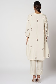 Off White Block Printed Dress With Pants by Bohame