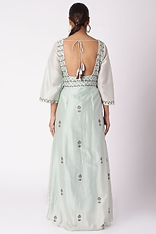 Mint Blue Pleated & Printed Dress With Pants by Bohame