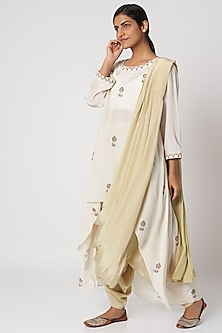 Off White Block Printed Top With Pants & Dupatta by Bohame
