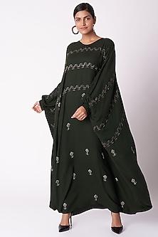 Bottle Green Block Printed Kaftan Dress by Bohame