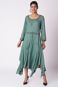 Turquoise Green Block Printed Dress With Scarf by Bohame