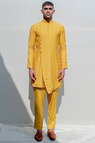 Mustard Asymmetrical Kurta Set With Fabric Buttons by Bohame Men