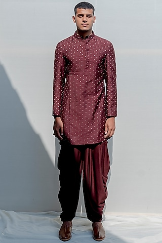 Brown Asymmetrical Kurta Set by Bohame Men
