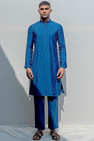 Turquoise Blue Straight Kurta Set by Bohame Men