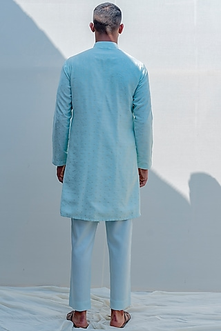 Mint Green Asymmetrical Kurta Set by Bohame Men