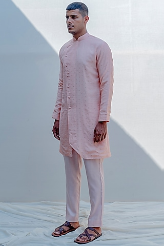 Peach Asymmetrical Kurta Set by Bohame Men