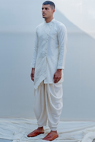 Off White Asymmetrical Kurta Set by Bohame Men
