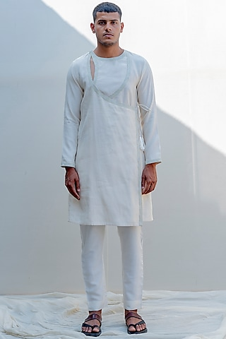 Off White Embroidered Angrakha Kurta Set by Bohame Men