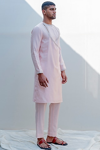 Peach Embroidered Angrakha Kurta Set by Bohame Men