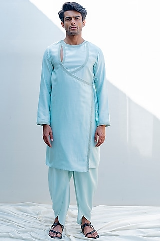 Mint Green Embroidered Angrakha Kurta Set by Bohame Men