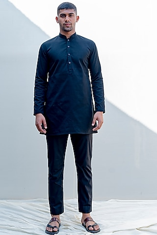 Black Embroidered Kurta Set by Bohame Men