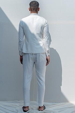 Milky White Embroidered Jacket Set by Bohame Men