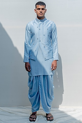 Light Blue Embroidered Kurta Set by Bohame Men