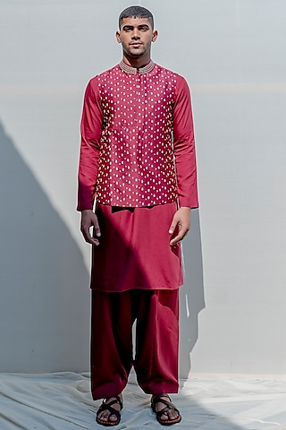 Rust Embroidered Kurta Set by Bohame Men