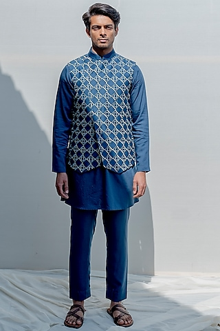 Turquoise Blue Embroidered Kurta Set by Bohame Men