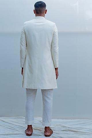 Off White Embroidered Overlapped Achkan Jacket Set by Bohame Men