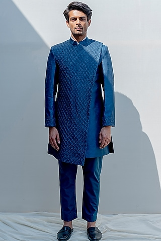 Turquoise Embroidered Overlapped Achkan Jacket Set by Bohame Men