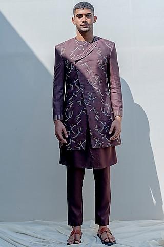 Brown Embroidered Asymmetrical Achkan Jacket Set by Bohame Men