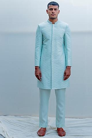 Mint Green Embroidered Achkan Jacket Set by Bohame Men