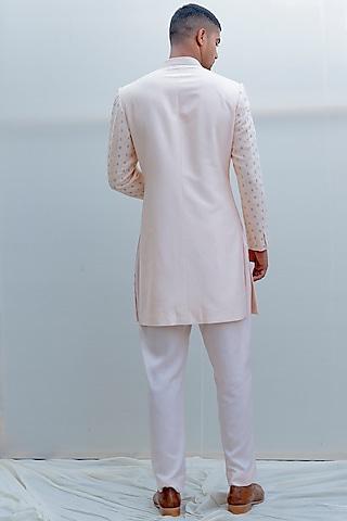 Peach Embroidered Achkan Jacket Set by Bohame Men