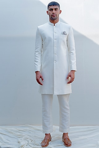 Off White Embroidered Achkan Jacket Set by Bohame Men