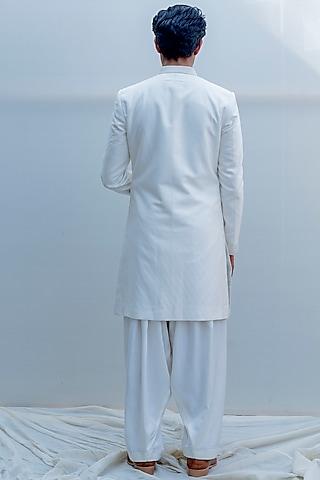 Off White Cross Embroidered Achkan Jacket Set by Bohame Men