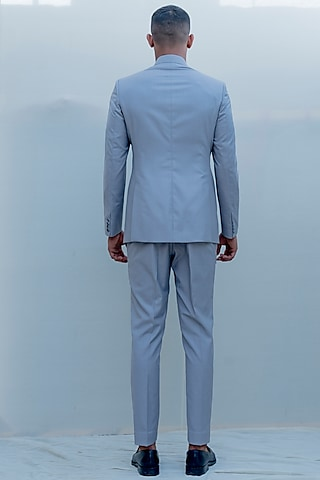 Grey Indo-Western Pleated Suit Set by Bohame Men
