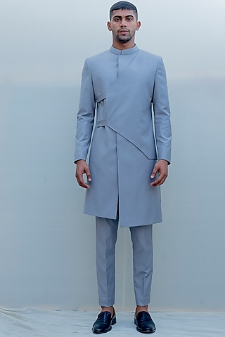 Grey Indo-Western Long Suit Set by Bohame Men