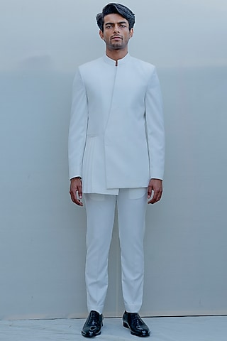 Milky White Indo-Western Pleated Suit Set by Bohame Men
