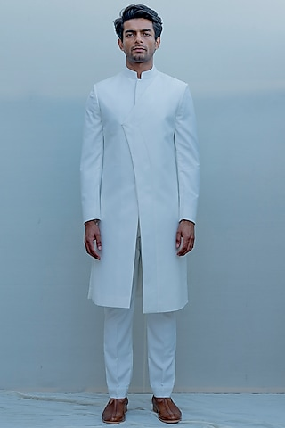 Milky White Indo-Western Long Suit Set by Bohame Men