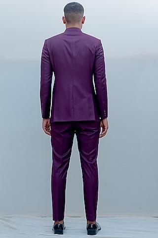 Purple Indo-Western Suit Set by Bohame Men