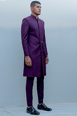 Purple Indo-Western Draped Suit Set by Bohame Men
