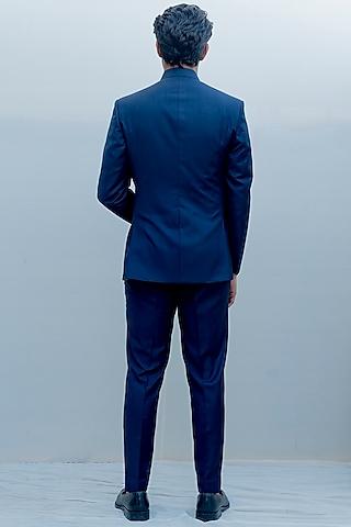 Dark Blue Indo-Western Suit Set by Bohame Men