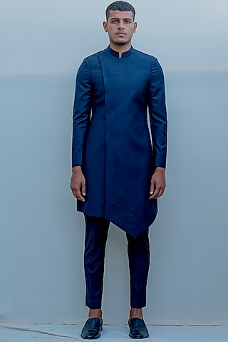 Dark Blue Overlapped Panelled Suit Set by Bohame Men