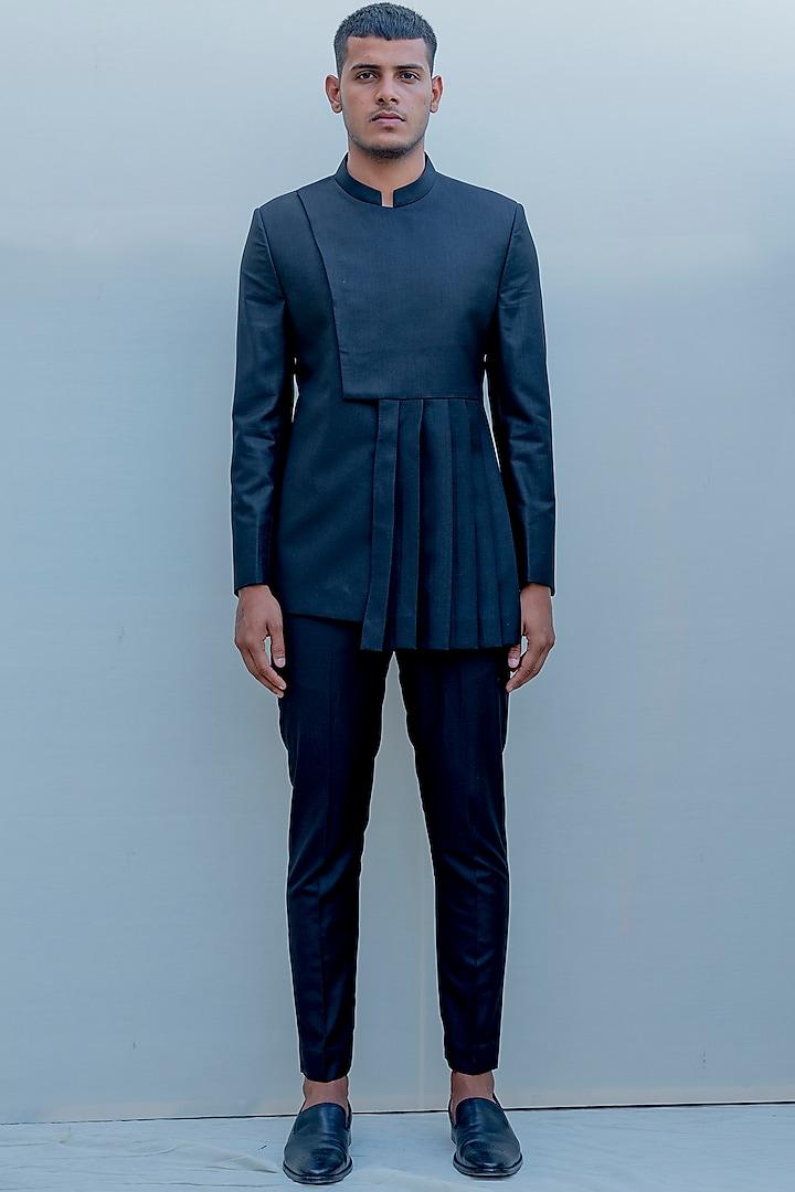 Black Indo-Western Knife Pleated Suit Set by Bohame Men