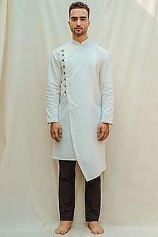 White Kurta With Black Pants by Bohame Men