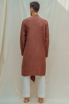 Brown Kurta With White Pants by Bohame Men