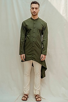 Bottle Green Kurta With Off White Pants by Bohame Men