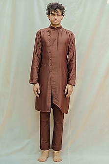 Brown Kurta With Pants by Bohame Men