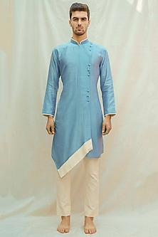 Sea Blue Kurta With Off White Pants by Bohame Men