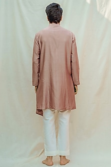 Mauve Kurta With Off White Pants by Bohame Men
