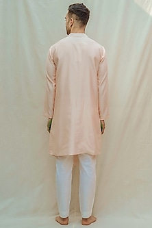 Peach Kurta With White Pants by Bohame Men