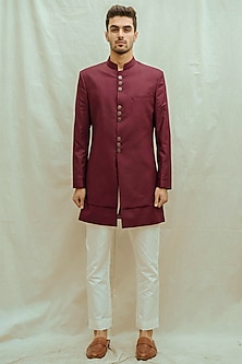 White Kurta Set With Wine Achkan Jacket by Bohame Men